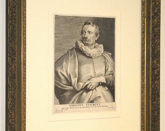 Van Dyck Excellent Original 17th Century Engraving of Artist Stalbent by Paulus DuPont c. 1643 Framed