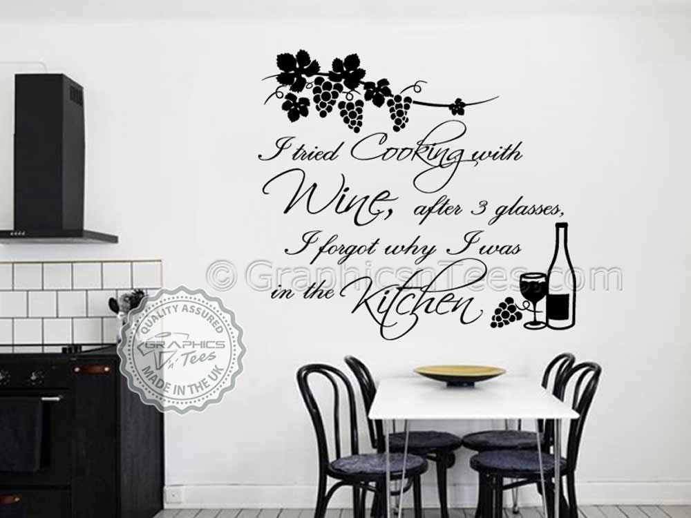 Cook With Wine Quote Kitchen Wall Sticker Tried Cooking With Wine