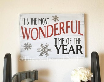 It's The Most Wonderful Time Of The Year, Christmas Sign, Wooden Sign, Holiday Decor, Christmas Decor, Holiday Sign, Rustic Holiday Decor
