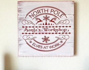 Santa's Workshop, Santa Wood Sign, Rustic Holiday Decor, Wood Sign, Holiday Decor, Christmas Decor, Holiday Sign, Rustic Holiday Decor
