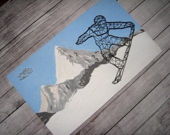 Snowboard Wall Art, Snowboarder Gift, Snowboard Wall Decor, Snowboard Sign, Snowboarding, Mountains Home Decor, Snowboarder Art Snowboarding