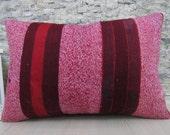 Kilim Pillow Ethnic Pillow Aztec Pillow Kilim Bolster Bohemian Pillow 16 x 24 Pink Kilim Pillow Striped Kilim Pillow Decorative Pillow