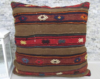 "Kilim Pillow Cover 28"" x 28"" Floor Cushion Turkish Pillow Decorrative Pillow Aztec Pillow Home Decor Kilim Cushion Floor Pillow Case"