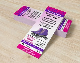 Printable Roller Skating Invitation Ticket - Skating Party - Roller Skate Party Invitation - Skating Birthday Invites
