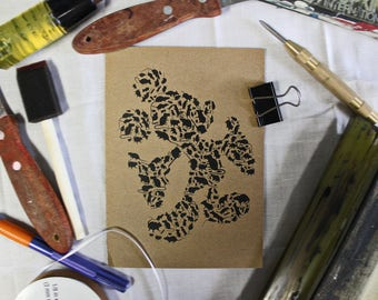 Mickey Mouse Greeting Card Screen Printed by Hand.