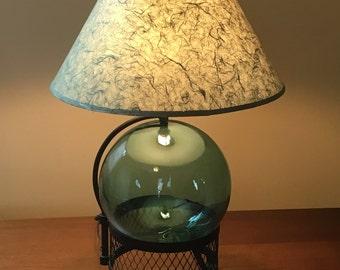 Vintage Mid Century Modern Aqua Glass Globe & Black Wrought Iron Table Lamp Eames Era
