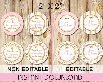 Thank You Tags, Cupcake Toppers, Labels, Stickers, Pink and Gold, Chevron, Stars, DIY, Editable Acrobat Reader,Instant Download, Round 2""