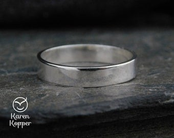 Sterling silver rectangular ring, wedding band, made at your size. Engagement ring, ring for men, thumb ring