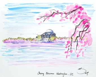 "Original Watercolor Painting illustration Cherry Blossoms Washington DC Tidal Basin 9""x12"". Created by Liz Vargas"