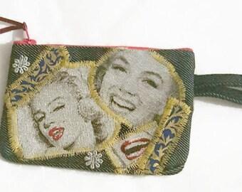 Denim coin purse, Marilyn Monroe Up Cycled Denim New York New York Coin Purse, American denim purse, movie star coin purse, Marilyn Monroe,