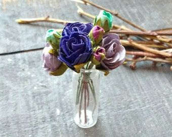 Miniature Glass Vase with Purple and Blue Bouquet