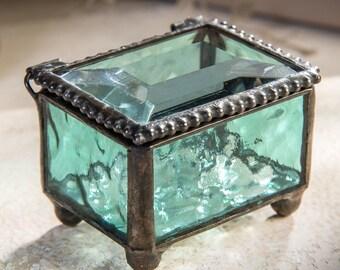 "Glass jewelry box, jewelry box, jewelry storage, keepsake box, ring bearer box aqua blue  2 1/4"" x 1 5/8"" x 1 1/2"" Box 325-3"
