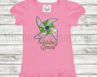 Personalized Pinwheel Appliqué Shirt for Girls