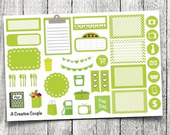 Green Assortment Planner Stickers