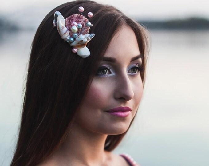 Shell Pink Grey Pearl Comb Seashell headpiece Beach wedding hair accessories Bridal mermaid crown nautical wedding siren haircomb coastal