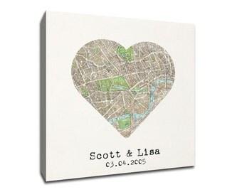 Custom London Heart My City Map Canvas Art