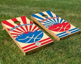 Philadelphia Basketball Cornhole Board Set with Bean Bags