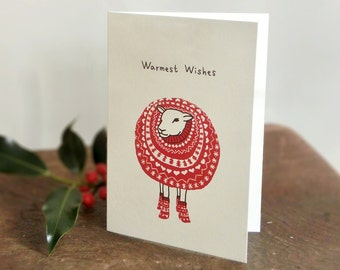 Sheep in Christmas Jumper -Warmest Wishes- Card