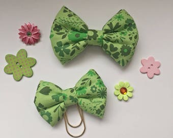 Green, Flowers, Travelers Notebook, Hairbow, TN, Fabric Bow
