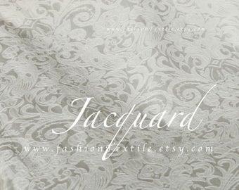 White Jacquard Damask Fabric by metre/ yard