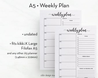 Weekly Planner, A5 Planner Inserts, Daily Schedule, A5 Planner, To Do List, Daily Planner, Printable Planner, Daily Planner, A5 Filofax