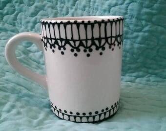 Custom Black Lace Coffee Cup Mug Ceramic
