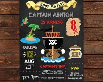 Pirate Birthday Invitation for boys - Pirate Ship Invitations - #DPI173181103 PDF Instant Download on latest version of Adobe Reader