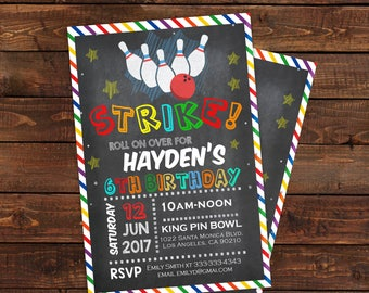 Bowling Birthday Party Invitations - Boys Bowling Party Invitations - Strike Bowling invitations - PDF Instant  Download #DPI91319041
