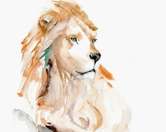 Lion Contemplating - Watercolor Art Print / Lion Giclee Print / Wild Animal Artwork / Lion King Art Print / Modern Wildlife Watercolor