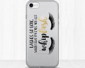 Lashes So Long When I Bat My Eyes You Get Whiplash - Clear iPhone Case - Funny Saying Makeup Lover Phonecase Long Lash Eyelashes MUA Glamour