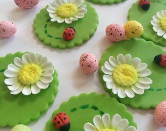 Fondant edible cupcake toppers 12 pcs Gumpaste daisies flowers Ladybugs Easter decorations Mother's day First birthday party Baby shower