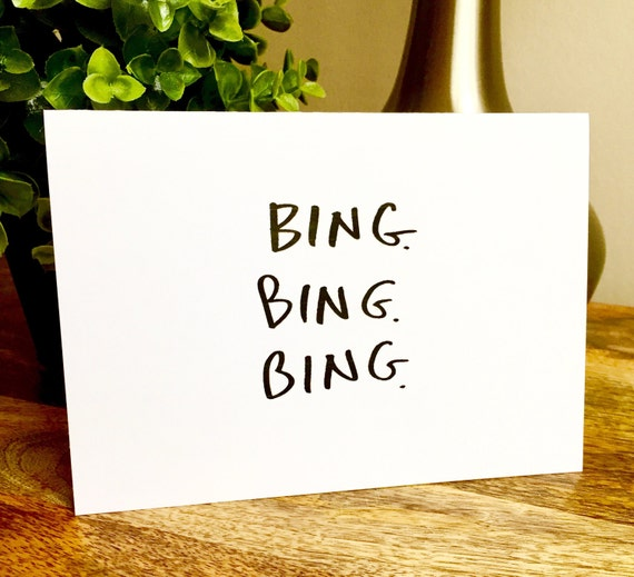 Bing Card, Cute Party Card, Blank handmade card, bachelorette card, bachelor card, sidesandwich