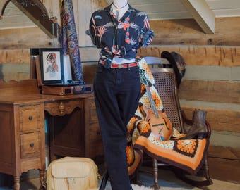 Vintage ultra soft cotton tropical bird print shirt
