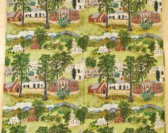 "Vintage 1940's/50's Barkcloth Curtain Fabric / 80"" x 40"" / Pastoral Church Print / Retro Collectable Rare"