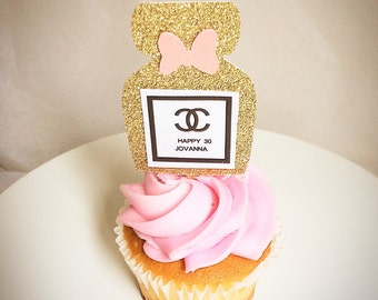 Chanel-cupcake toppers-12 toppers-perfume bottles-Chanel party decor-PLEASE INCLUDE YOUR event date