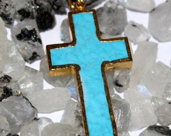 1 Pc Turquoise Cross Pendant with 24k Gold Electroplated Edges- Gold Plated Turquoise Cross Charm Pendant - Single Loop Pendant HL14