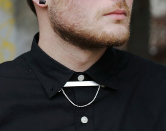 Silver Collar Chain, Mens Collar Chain, Silver Bar Necklace, Minimalist Necklace, Collar Necklace, Unisex Collar Chain | The Underpass