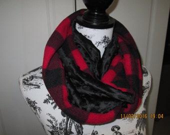 infinity,scar,tube,scar accessoiry women polar bucheron red the black minky