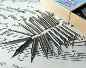 20 Ink Pen NIBS Vintage/ Set of 20 Calligraphy Ink Pen Nibs/ Russian Vintage Nibs/ Calligraphy Writing Supplies/ USSR