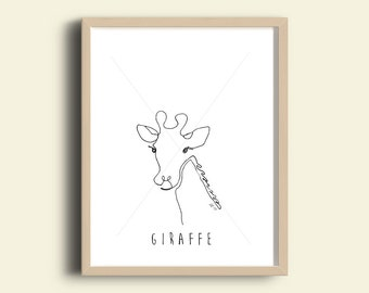 Printable Giraffe Line Drawing (one continous line drawing)