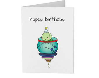 happy birthday - cute bun bun original art - handmade card - greeting card
