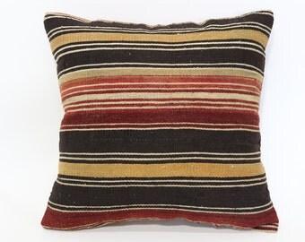 Handwoven Kilim Pillow Throw Pillow Sofa Pillow Boho Pillow 20x20 Vintage Kilim Pillow Naturel Pillow Cushion Cover SP5050-1441