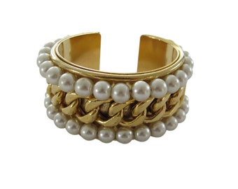 Vintage Edouard Rambaud Chunky Gold Tone & Pearl Cuff Bracelet