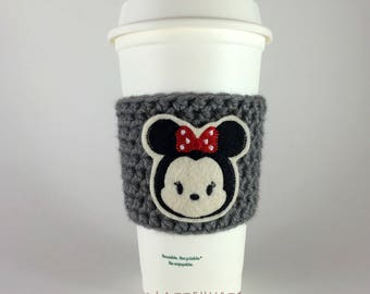 Minnie Mouse Tsum Coffee Cup Cozy / Crochet Coffee Sleeve / Reusable Cozie / Customizable