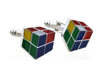 Colorful Rubix Cube Cufflink -k202 Free Gift Box