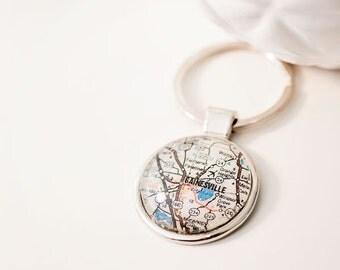 Custom Map Keychain, Map keychain, map keyring, custom keyring, map jewelry, handstamped keyring, mothers day gift, monogram keychain