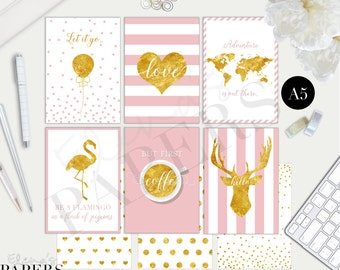 Printable A5 dividers GOLD & PINK 2.0 style for your A5 planner and Franklin Covey planner