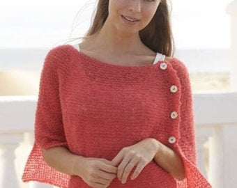 Knitted lightweight poncho from alpaca silk