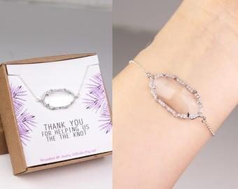 Bridal shower favor, bridesmaid bracelet, bachelorette party gift, CZ bracelet, cubic zirconia bracelet, statement bracelet, sterling silver