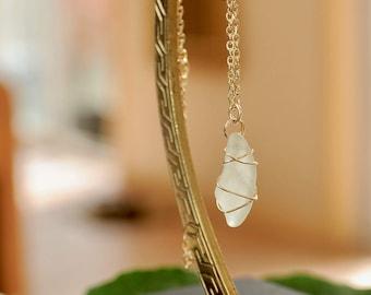 Hawaiian Sea Glass Pendant in 14k Gold Filled Wire, Hand Wrapped Sea Glass Necklace, Sea Foam Green Glass Pendant